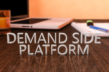 online bidding: Demand Side Platform - letters on wooden desk with laptop computer and a notebook. 3d render illustration.