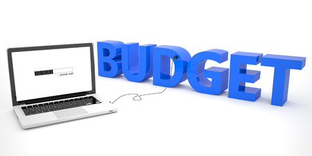 current account: Budget - laptop computer connected to a word on white background. 3d render illustration. Stock Photo
