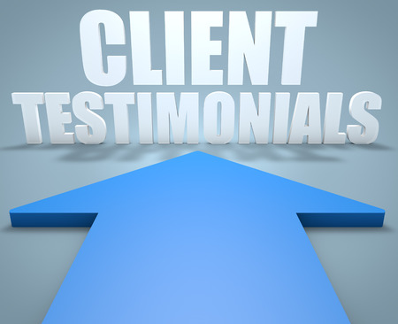 affirmations: Client Testimonials - 3d render concept of blue arrow pointing to text. Stock Photo