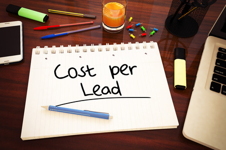 cpc: Cost per Lead - handwritten text in a notebook on a desk - 3d render illustration. Stock Photo
