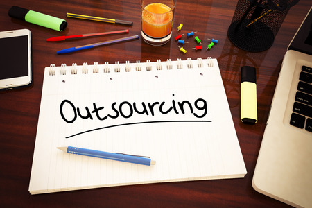 Outsourcing - handwritten text in a notebook on a desk - 3d render illustration.