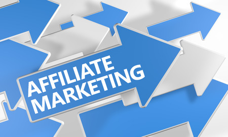 affiliates: Affiliate Marketing 3d render concept with blue and white arrows flying over a white background.