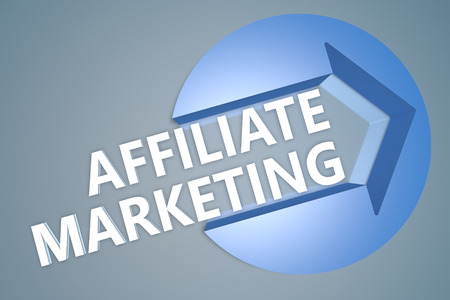 affiliates: Affiliate Marketing - text 3d render illustration concept with a arrow in a circle on blue-grey background Stock Photo