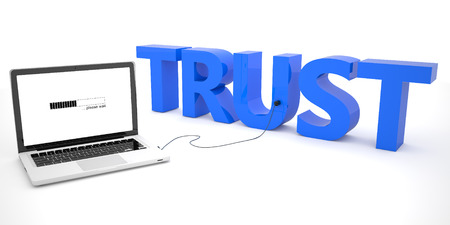 Trust - laptop computer connected to a word on white background. 3d render illustration. illustration