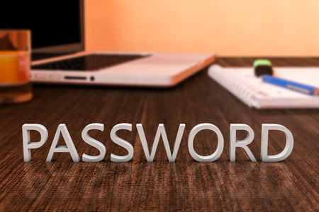 Password - letters on wooden desk with laptop computer and a notebook, 3d render illustration. illustration