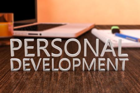 aide à la personne: Développement personnel - lettres sur bureau en bois avec un ordinateur portable et un ordinateur portable. 3d render illustration.