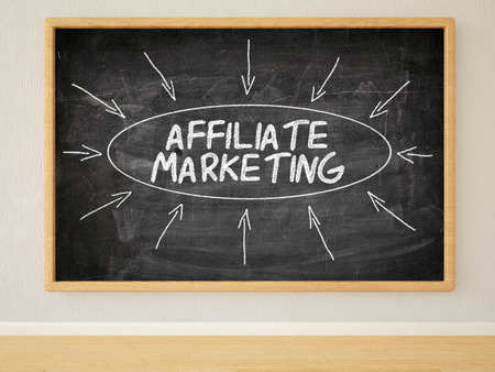 affiliates: Affiliate Marketing - 3d render illustration of text on black chalkboard in a room.