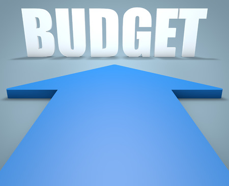 budgets: Budget - 3d render concept of blue arrow pointing to text. Stock Photo