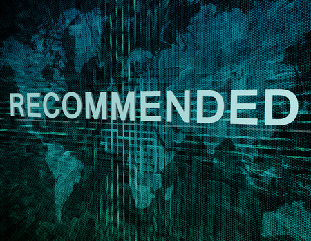recommendations: Recommended text concept on green digital world map background