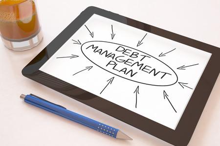 debt management: Debt Management Plan - text concept on a mobile tablet computer on a desk - 3d render illustration.