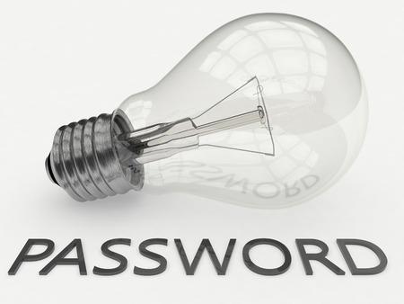 Password - lightbulb on white background with text under it. 3d render illustration. illustration