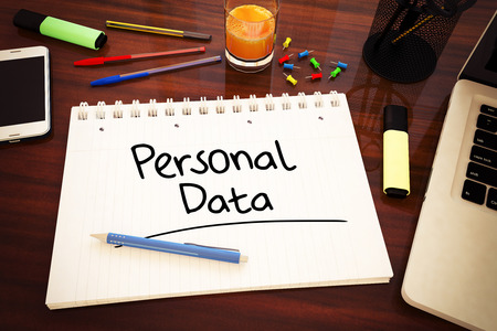 personal data: Personal Data - handwritten text in a notebook on a desk - 3d render illustration.