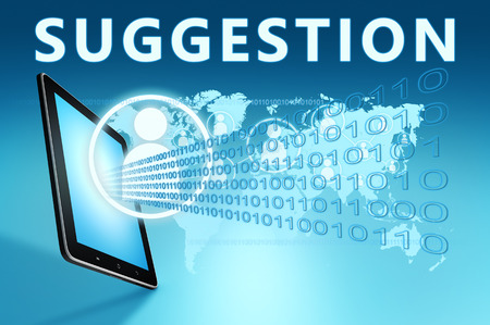 suggestions: Suggestion illustration with tablet computer on blue background