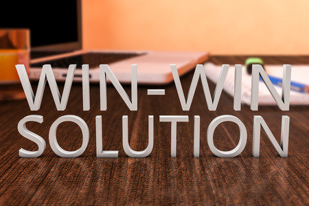 win: Win-Win Solution - letters on wooden desk with laptop computer and a notebook. 3d render illustration.
