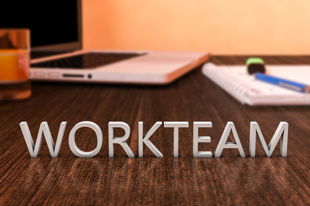 workteam: Workteam - letters on wooden desk with laptop computer and a notebook. 3d render illustration. Stock Photo