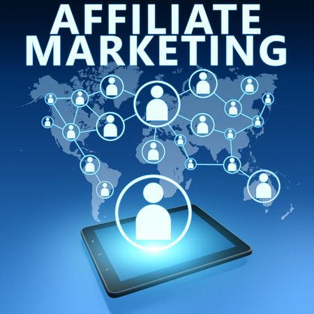 affiliates: Affiliate Marketing illustration with tablet computer on blue background