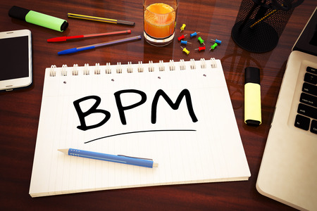 bpm: BPM - Business Process Management - handwritten text in a notebook on a desk - 3d render illustration.