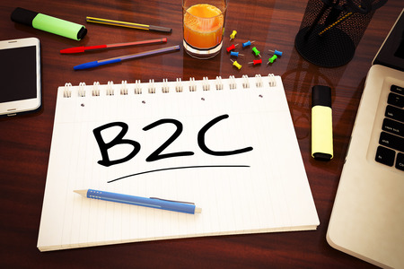 b2c: B2C - Business to Customer - handwritten text in a notebook on a desk - 3d render illustration. Stock Photo