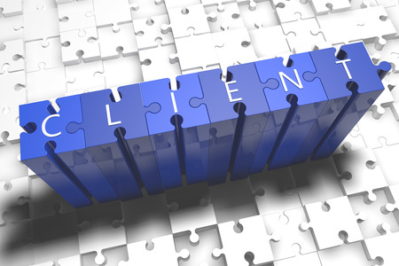 Client - puzzle 3d render illustration with block letters on blue jigsaw pieces