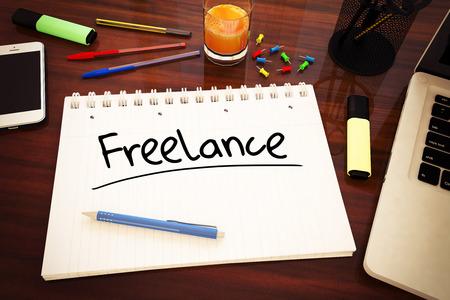 Freelance - handwritten text in a notebook on a desk - 3d render illustration.