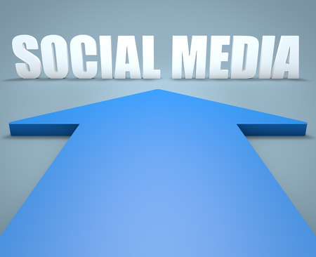 wikis: Social Media - 3d render concept of blue arrow pointing to text.