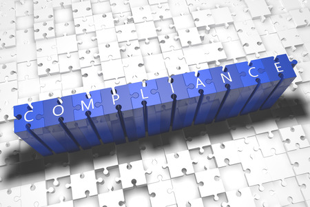legality: Compliance - puzzle 3d render illustration with block letters on blue jigsaw pieces