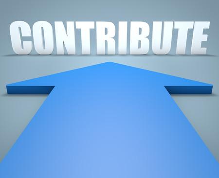 contribuire: Contribuire - concetto di rendering 3D di freccia blu che punta al testo.