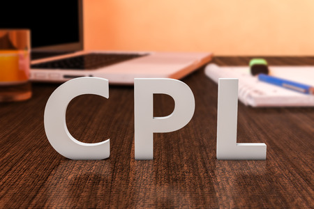 cpl: CPL - Cost per Lead - letters on wooden desk with laptop computer and a notebook. 3d render illustration.