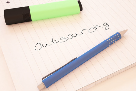 offshoring: Outsourcing - handwritten text in a notebook on a desk - 3d render illustration.