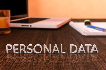 datos personales: Datos Personales - cartas en escritorio de madera con el ordenador port�til y un cuaderno. 3d ilustraci�n. Foto de archivo