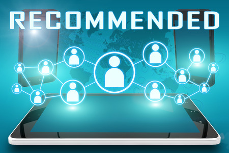recommendations: Recommended - text illustration with social icons and tablet computer and mobile cellphones on cyan digital world map background