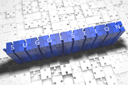 suggestions: Suggestion - puzzle 3d render illustration with block letters on blue jigsaw pieces Stock Photo