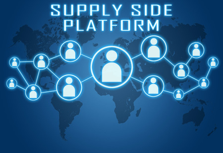 online bidding: Supply Side Platform concept on blue background with world map and social icons.