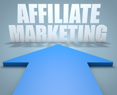 affiliates: Affiliate Marketing - 3d render concept of blue arrow pointing to text.