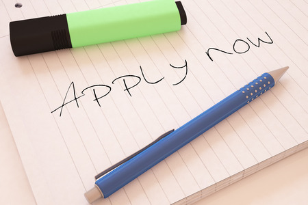 requisition: Apply now - handwritten text in a notebook on a desk - 3d render illustration.