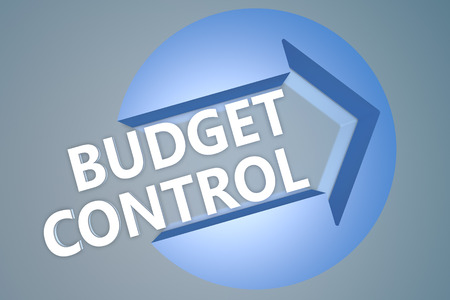 budgets: Budget Control - text 3d render illustration concept with a arrow in a circle on blue-grey background
