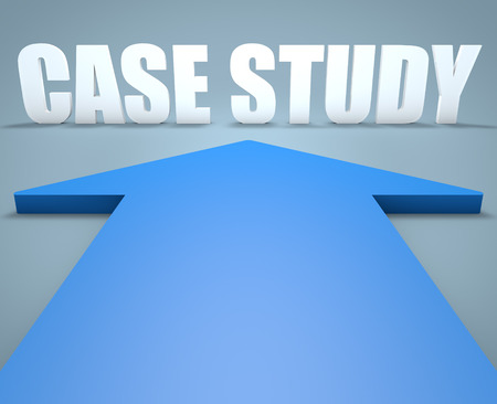 studied: Case Study - 3d render concept of blue arrow pointing to text. Stock Photo