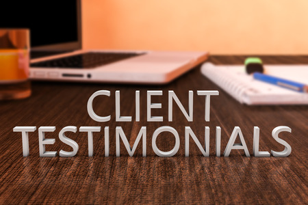 testimonials: Client Testimonials - letters on wooden desk with laptop computer and a notebook. 3d render illustration. Stock Photo