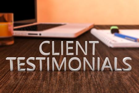 Client Testimonials - letters on wooden desk with laptop computer and a notebook. 3d render illustration. Foto de archivo