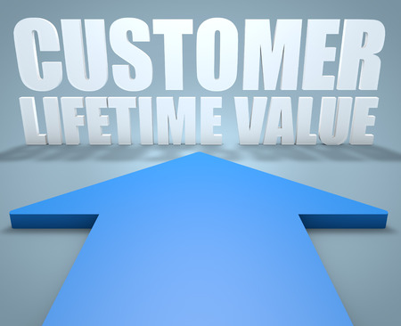 Customer Lifetime Value - 3d render concept of blue arrow pointing to text.