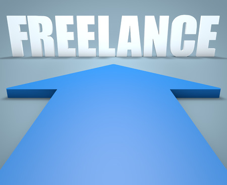 independent contractor: Freelance - 3d render concept of blue arrow pointing to text. Stock Photo