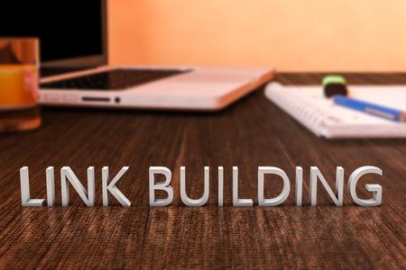 linkbuilding: Link Building - letters on wooden desk with laptop computer and a notebook. 3d render illustration.