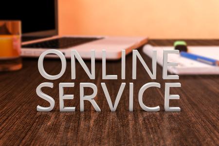 service desk: Online Service - letters on wooden desk with laptop computer and a notebook. 3d render illustration.