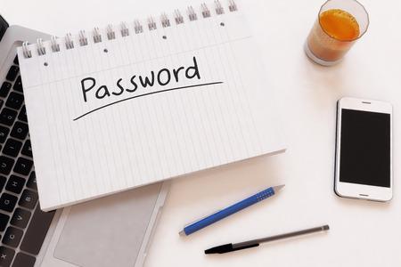 Password - handwritten text in a notebook on a desk - 3d render illustration. illustration