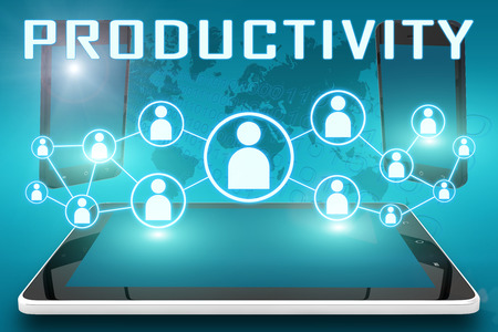 Productivity - text illustration with social icons and tablet computer and mobile cellphones on cyan digital world map background