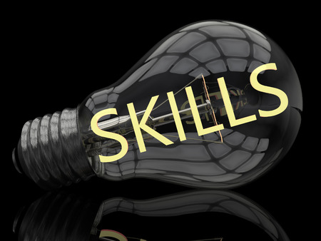 lead sled: Skills - lightbulb on black background with text in it. 3d render illustration. Stock Photo