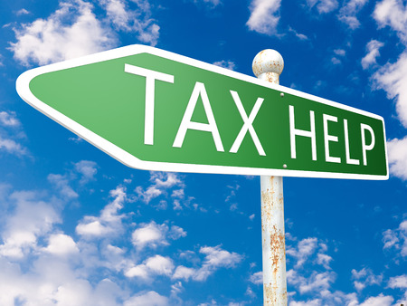 excise: Tax Help - street sign illustration in front of blue sky with clouds.