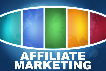 affiliates: Affiliate Marketing text illustration concept on blue background with colorful world map Stock Photo