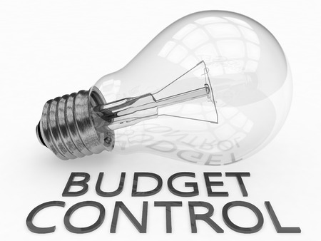 budgets: Budget Control - lightbulb on white background with text under it. 3d render illustration.