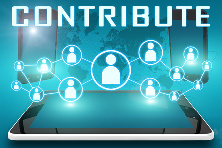 contributions: Contribute - text illustration with social icons and tablet computer and mobile cellphones on cyan digital world map background Stock Photo